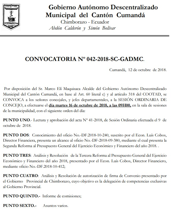 CONVOCATORIA NO42