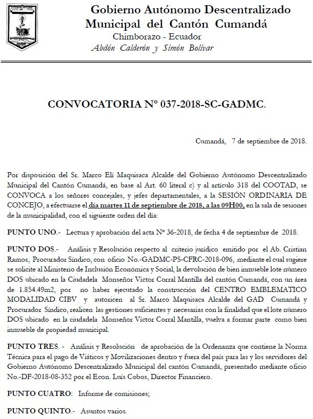 CONVOCATORIA No. 37 2018