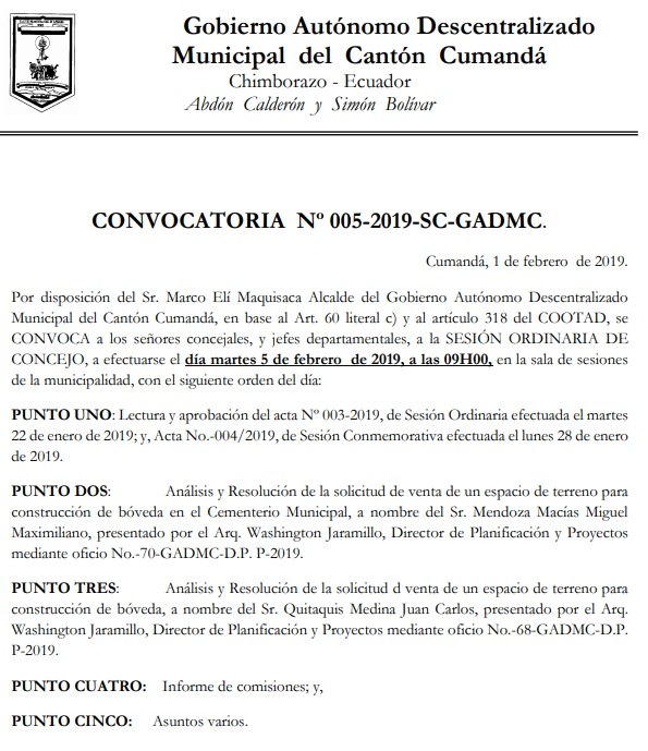 CONVOCATORIA NO. 005 2019