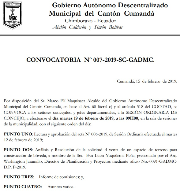 CONVOCATORIA NO. 7 2019